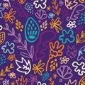 Blue potpourri floral seamless pattern