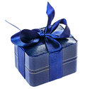 Blue present box with silk ribbon Royalty Free Stock Images