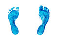 Blue prints of children's feet isolated on white background Royalty Free Stock Photo