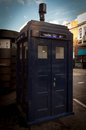 Blue Public Call Police Box in London Royalty Free Stock Photo
