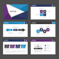 Blue purple Abstract Brochure report flyer magazine presentation element template a4 size set for advertising marketing website Royalty Free Stock Photo