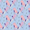 Blue, purple and pink lavender popsicle seamless pattern.