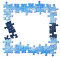 Blue puzzle border Royalty Free Stock Photo