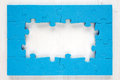 Blue puzzle frame Royalty Free Stock Photo