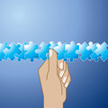 Blue puzzle pieces on Hand holding Royalty Free Stock Photos