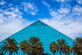 Blue pyramid the aquarium at moody gardens on galveston island texas Royalty Free Stock Photo