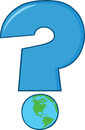 Blue question mark with world globe cartoon Stock Image