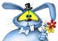 Blue rabbit gentleman gives a bouquet of flowers