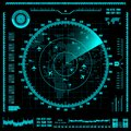 Blue radar screen with planes and world map. Vector EPS10.