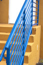Blue Railing on Exit Stair Stock Image