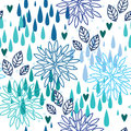 Blue rain seamless pattern flowers leaves hearts Stock Photos