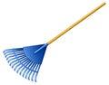A blue rake