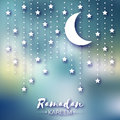 Blue Ramadan Kareem celebration greeting card. Stars and crescent moon. Royalty Free Stock Photo
