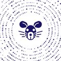 Blue Rat head icon isolated on white background. Mouse sign. Animal symbol. Abstract circle random dots. Vector Royalty Free Stock Photo