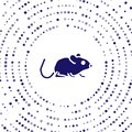 Blue Rat icon isolated on white background. Mouse sign. Animal symbol. Abstract circle random dots. Vector Royalty Free Stock Photo