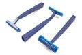 Blue razor blades isolated on white Royalty Free Stock Image