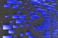 Blue rectangular shapes of random size on black background