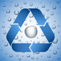 Blue recycle symbol on wet background water drop inside the sign Royalty Free Stock Photo