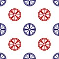 Blue and red Alloy wheel for a car icon isolated seamless pattern on white background. Vector Royalty Free Stock Photo