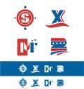Blue red alphabet letter icon logo set Royalty Free Stock Photo