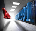 Blue and red binary code in data center floating corridor Stock Photo