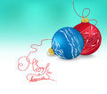 Blue and red christmas ornaments on bright holiday background with copy space. Merry christmas card. Winter holidays. Xmas theme Royalty Free Stock Photo