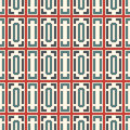 Blue and red color repeated squares and brackets on white background. Seamless pattern with simple geometric ornament.