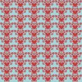 Blue and red folk art heart repeat pattern Stock Photography