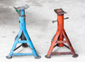 Blue and Red grunge car jacks Royalty Free Stock Photo