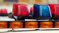 Blue and Red Lights Police Car Stock Images