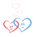 Blue and red love hearts together vector illustration Stock Image