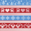 Blue and red Nordic Christmas winter pattern with reindeer,rabbits, Xmas trees, angels, bow in Scandinavian style cross stitch