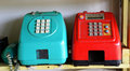 Blue and red phone old retro on table Royalty Free Stock Photos