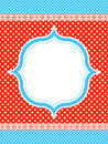 Blue and red polka dot frame  Royalty Free Stock Photos
