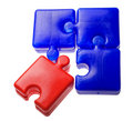 Blue and red puzzle elements Royalty Free Stock Photo