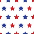 Blue red stars seamless vector background. Patriotic repeating pattern with stars grunge texture style Royalty Free Stock Photo