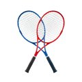 Blue and red tennis rackets isolated white background Stock Images