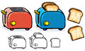 Blue and red toasters with black white variant Royalty Free Stock Photography