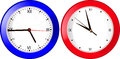 Blue and red wall clock on a white background Royalty Free Stock Photo