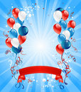 Blue, red and white balloons Royalty Free Stock Photography