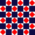 Blue red and white geometric square tiles simple seamless pattern, vector Royalty Free Stock Photo