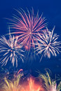 Blue red yellow firework Royalty Free Stock Photography