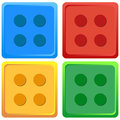 Blue, Red, Yellow, Green coloured Lego Toy illustration Vector Four colour set Royalty Free Stock Photo