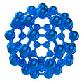 Blue reflective fulleren molecular structure Royalty Free Stock Images
