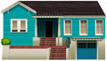 A blue residential house
