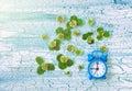Blue retro alarm clock, summer time Royalty Free Stock Photo