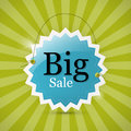 Blue retro big sale tag label on green background Royalty Free Stock Photo