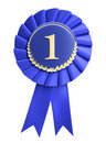 Blue ribbon award blank with copy space. Isolated Stock Images