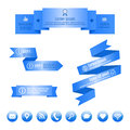 Blue ribbon banners and social media icons. Vector infographic elements.