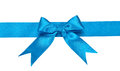 Blue ribbon with bow isolated on white background Stock Photos